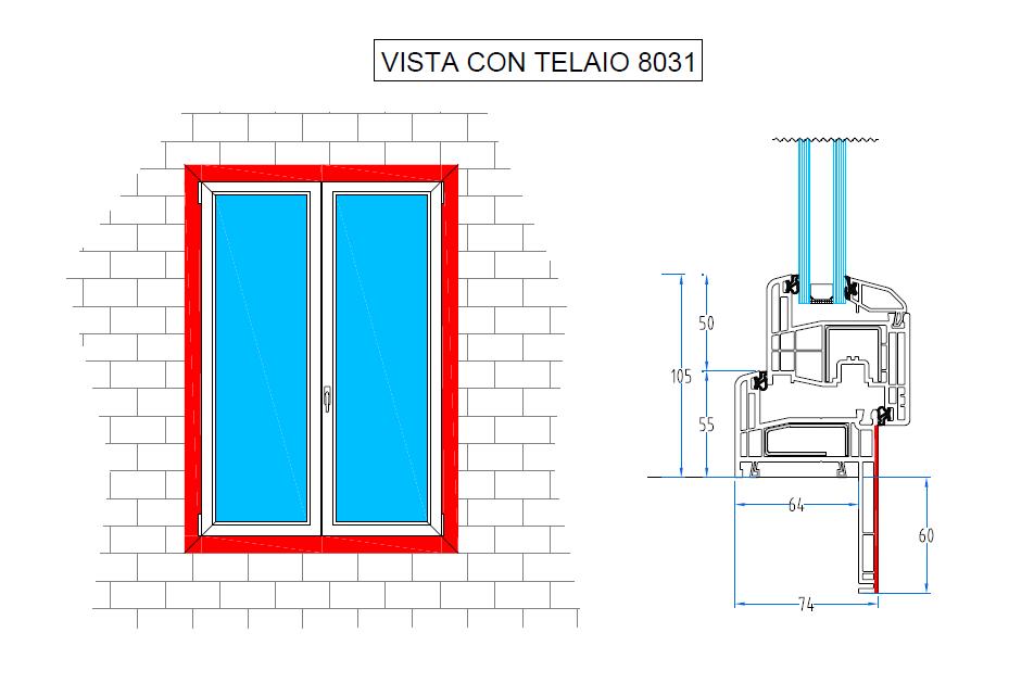 Sezione profilo finestra in PVC con vista con telaio